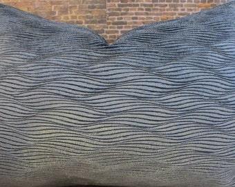 3BM Designer Pillow Cover Lumbar, 16 x 16, 18 x18, 20 x 20, 22 x 22, 24 x 24 - TCW Raised Velvet Teal Blue