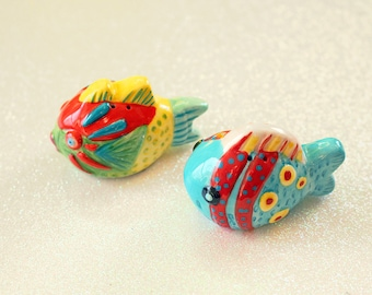 Small Tropical Fish Salt and Pepper Shakers, Beach House Decor, Picnic