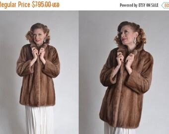 ON SALE Vintage Mink Fur Wedding Coat - 1960s Stroller Length Fur - Winter Bridal Fashions