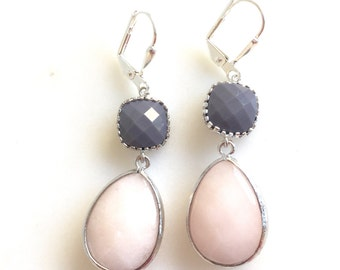 Blush Peach and Opaque Grey Dangle Earrings in Silver.  Bridesmaid Earrings. Dangle Earrings. Drop Earrings. Wedding Jewelry. Bridal Gift.