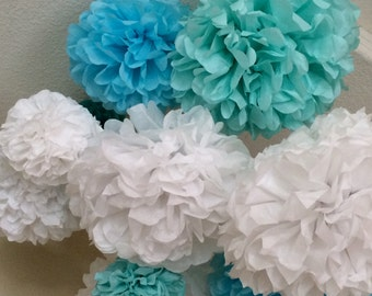 Paper Pom Poms -Set of 10- Your Color Choice -  Frozen Party - Olaf Birthday Decor - Anna and Elsa Party - Winter Decorations