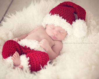 Baby Santa Hat and Pants, Santa Claus, Baby Santa, Santa Claus, Newborn Baby Santa, Christmas Photo Prop, Santa Hat, Newborn Photo Prop