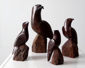 vintage wood eagle collection, carved wooden bird sculptures