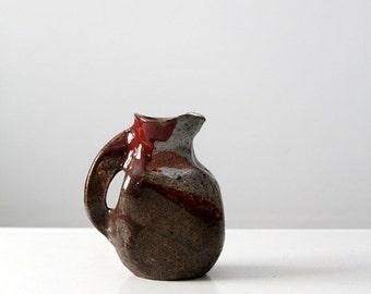 SALE studio pottery pitcher, vintage glazed ceramic vase, signed pottery
