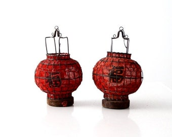 SALE pair Chinese red lanterns, vintage good luck lanterns