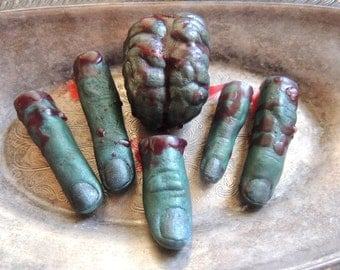 ZOMBIE SOAP SET, Finger Soap, Brain Soap, Halloween Soap, Novelty Soap, Zombie Feast, Living Dead Soap, Party Favors, Horror Soap