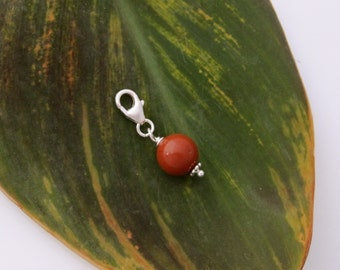 Red flame Jasper gesmtone bead clip on charm, fits link charm bracelet