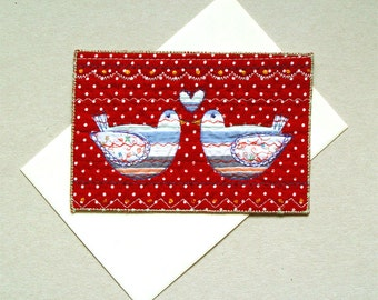 Folk art card, love birds card, Fiber Art, red blue, for the couple, folklore primitive, wedding anniversary card, love heart, blue birds