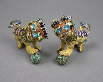 Vintage Chinese Foo Dog Pair, Gilt Enamel, Vermeil, Gold Over Sterling Silver, Vintage Asian Collectible
