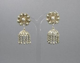 Vintage Filigree Earrings, Vintage Screw Backs, Sterling Silver, Dangle Earrings, Boho, Gypsy