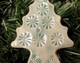 Tree Ornament or Gift Tag-Stoneware-Celadon Green-Hand Built-Two More Available