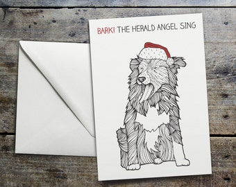 Funny Dog Christmas Card 'Bark! The Herald Angel Sing'