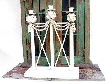 Vintage Candelabra White Paint Shabby Chic Cottage Cast Iron Wedding Candleholder Greek Pillar Ram Candlestick