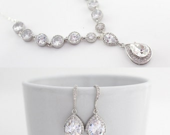 Cubic Zirconia Bridal Jewelry Set, Cubic Zirconia Earrings and Necklace Set, Weddign Jewelry for Brides, Crystal Jewelry, Statement Jewelry