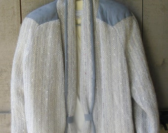 Vintage Jacket - Janet Knight Handwovens, Mohair & Wool, Grey Suede Shoulders, Made in Canada, Soft Grey, Silver and White, Casual or Dressy
