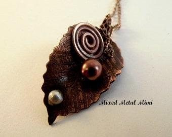 Leaf Pendant, Sterling Silver, medium Copper leaf, Copper Chain, Copper Etched Leaf Pendant, Long Copper Chain,Copper Swirl, Bead -N-013