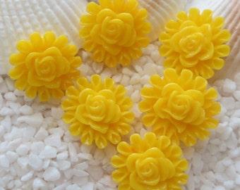 Resin Flower Cabochon - Rose Circled - 13mm  - 12 pcs - Yellow