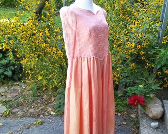 Pink Princess Dress / Sheer Long Sleeves / Sweetheart Neckline / 38 Bust