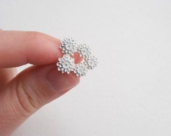 Small Chrysanthemums - Sterling Silver Pin