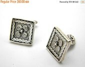 sale Sterling silver square cufflinks antique style spirals rustic jewelry for men