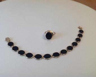 Vintage Set Onyx 14k Yellow Gold Bracelet Signer Ring Sz 4 Lovely oval shape