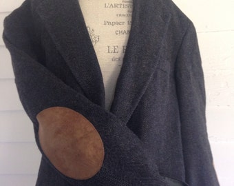 Vintage Charcoal Gray Wool Professor's Jacket w Suede CARAMEL Elbow Patches