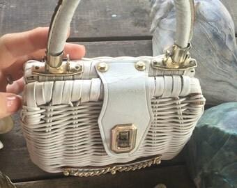 Handbag White Wicker Little Girl's Summer Handbag 1950s