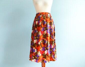 Vintage Floral Skirt Pleated Multicolor Bold Colorful High Waist Midi / Medium
