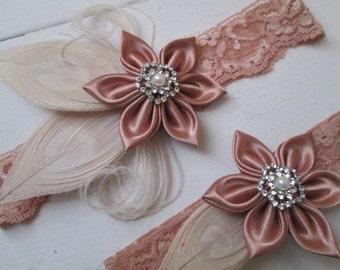 Rose Gold Lace Wedding Garter Set, Ivory Peacock Garters, Blush Rustic Bridal Garter, Champagne Garter, Vintage-Country Bride
