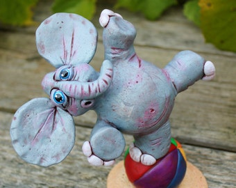 Clumsy Elephant Polymer Clay Sculpture
