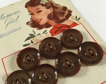 Vintage 1940s Shirt Buttons Set of 7