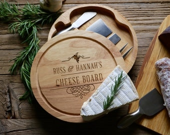 Cheese Set with 3 stainless utensils - Personalized Cheese Board, Personalized Gift, Wedding Gift, Anniversary Gift, Housewarming Gift