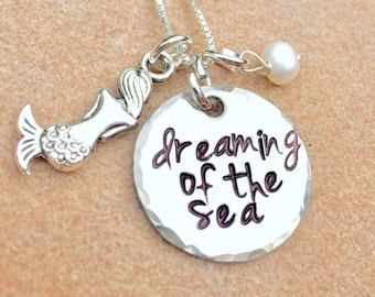 Dreaming Of The Sea Necklace, Mother's Day Necklace, Mermaid Necklace, Hand Stamped Jewelry, Beach Necklace , Natashaaloha