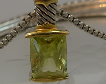 """Yellow to Lime Green Quartz Pendant and 18"""" Chain Silver and Gold Vermeil  (66.228)"""