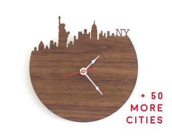 Large Wall Clock - City Landscape - Walnut or Cherry Wood Clock