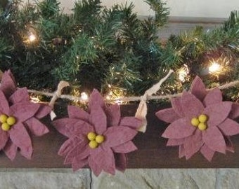 Primitive Poinsettia Garland - 5 Poinsettias - Primitive Christmas Decor - Holiday Garland - Layered Maroon Flowers