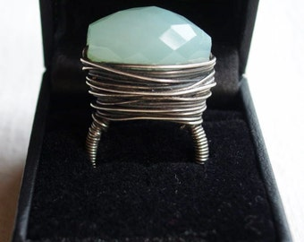 Big Bold Sterling Silver Wire Wrapped Chrysoprase Statement Ring Sz 6.5