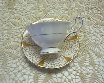 """Queen Anne """"Gold Lace""""  Wedding Anniversary Cup and Saucer"""