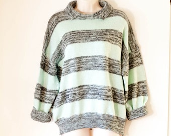 Vintage 1980s DEB sweater, aqua turquoise gray striped off shoulder boxy loose fitting sweater