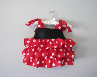 everyday princess Minnie Mouse inspired ruffle tank top  shirt -- RTS - ready to ship  Size 2 - 2T red black