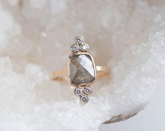 Rose Cut Grey Rectangle Diamond + White Diamond Trio Ring | 14k Recycled Gold