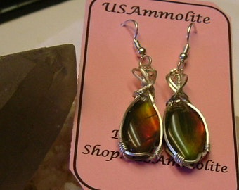 High Quality Red Orange Green and Yellow Gem Ammolite from Utah Deposit in Argentium Sterling Silver Wire Wrapped Earrings 418
