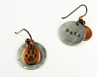 Paw Print Earrings (Cute Stamped Jewelry with Bark and Wag) Animal Gift for Pet Lover, Dog Owner