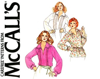 Womens Blouse Pattern Uncut Bust 40 McCalls 6333 Misses Long Sleeve Pullover Pirate Poet Shirt Boho Tops Tunics 1970s Vintage Sewing Pattern