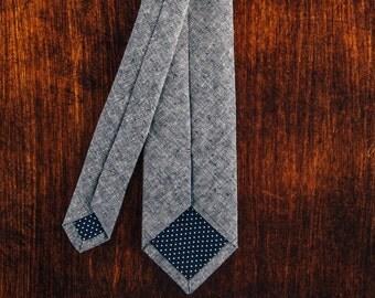 Blue Chambray Skinny Tie