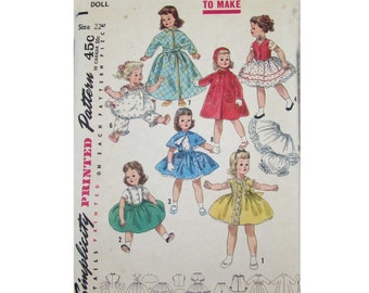 """1950s Simplicity Doll Sewing Pattern for 22"""" Doll  - #1779"""