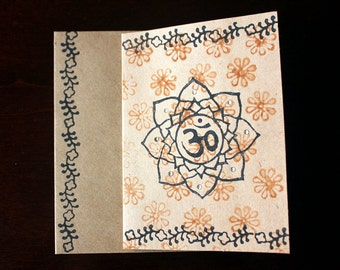 Hand Block Printed Blank Kraft Cards with Envelopes, Blank Cards Set, 3 pack handprinted cards, Om Cards