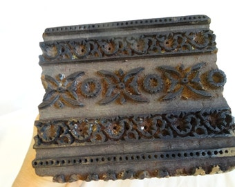 """HAND CARVED Wood Antique Textile Wallpaper Fabric Printing STAMP Block 6 1/3"""" x 5 3/8"""""""