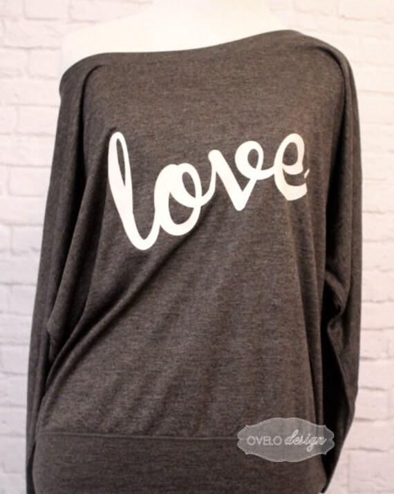 Love shirt Flowy off the Shoulder Long Sleeve T-shirt