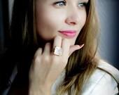 SUMMER SALE - Square rose quartz ring,large cocktail ring,gold ring,solid gold ring,14k gold ring,pink quartz ring,love ring,pink
